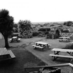 black and white beer garden